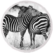 Zebra Love Round Beach Towel by Adam Romanowicz