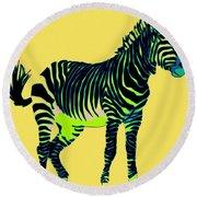 Zebra Pop Art Round Beach Towel