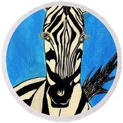 Zebra Portrait 5 Round Beach Towel
