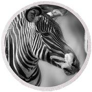 Zebra Profile In Black And White Round Beach Towel