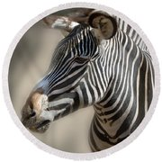 Zebra Profile Round Beach Towel