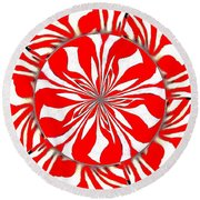 Zebra Red Swirling Kaleidoscope  Round Beach Towel