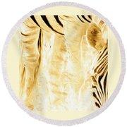 Zebra Up Closer Round Beach Towel