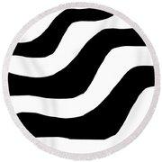Zebra Waves Round Beach Towel