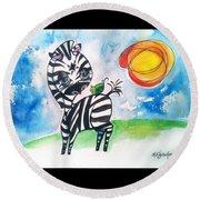 Zebra Zee  Round Beach Towel