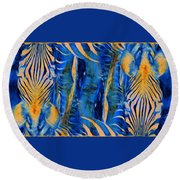 Zebras Abstracted Round Beach Towel