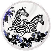 Zebras At Play Round Beach Towel