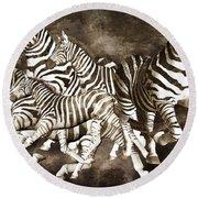 Zebras Round Beach Towel