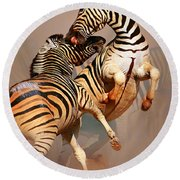 Zebras Fighting Round Beach Towel