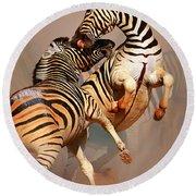 Zebras Fighting Round Beach Towel