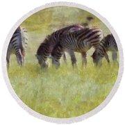 Zebras In Africa Round Beach Towel