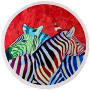 Zebras In Love  Round Beach Towel