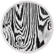 Zebras In Wood Round Beach Towel