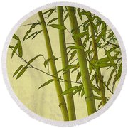 Zen Bamboo Abstract I Round Beach Towel