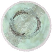 Zen Feather Circle I I Round Beach Towel