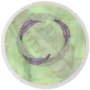 Zen Feather Circle I V Round Beach Towel