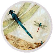 Zen Flight - Dragonfly Art By Sharon Cummings Round Beach Towel