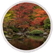 Zen Garden Reflected Round Beach Towel