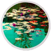 Zen Garden Water Lilies Pond Serenity And Beauty Lily Pads At The Lake Waterscene Art Carole Spandau Round Beach Towel