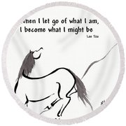 Zen Horse Releasing Round Beach Towel
