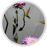 Zen Lilies Round Beach Towel