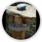 Zen Rocks In Balance Round Beach Towel