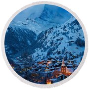 Zermatt - Winter's Night Round Beach Towel by Brian Jannsen