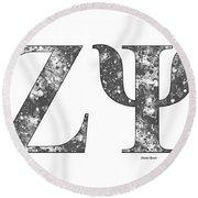 Zeta Psi - White Round Beach Towel