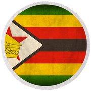 Zimbabwe Flag Distressed Vintage Finish Round Beach Towel by Design Turnpike