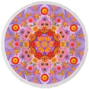 Zinna Flower Mandala Round Beach Towel