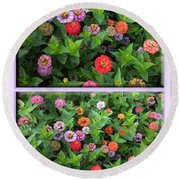 Zinnias 4 Panel Vertical Composite Round Beach Towel
