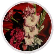 Zinnias And Gladiolas Round Beach Towel