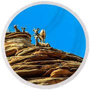 Zion Bighorn Sheep Round Beach Towel