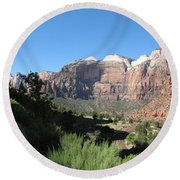 Zion Canyon View Round Beach Towel