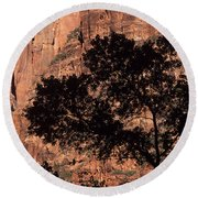 Zion National Park Canyon Walls With Silhouetted Trees In Front  Round Beach Towel