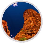 Zion National Park Oil On Canvas Round Beach Towel