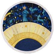 Zodiac Moon Round Beach Towel