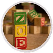 Zoe - Alphabet Blocks Round Beach Towel