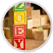 Zoey - Alphabet Blocks Round Beach Towel