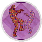 Zombie Funny Comic Cartoons Dance Zombie Dance Grand   36x12 Horizontal Landscape Energy Graphics Ba Round Beach Towel