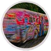 Zooming Graffiti Bus Round Beach Towel