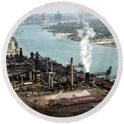 Zug Island Industrial Area Of Detroit Round Beach Towel