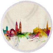 Zurich Switzerland Skyline Round Beach Towel by Michael Tompsett
