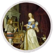 A Lady At Her Toilet Round Beach Towel by Gerard ter Borch