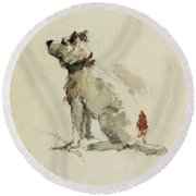 A Terrier - Sitting Facing Left Round Beach Towel by Peter de Wint