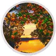 Autumn Leaves A View Round Beach Towel
