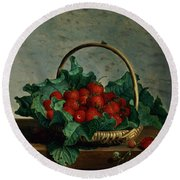 Basket Of Strawberries Round Beach Towel