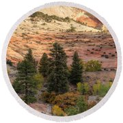 East Zion Canyon Hdr Round Beach Towel