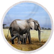 Elephant And Her Child Round Beach Towel