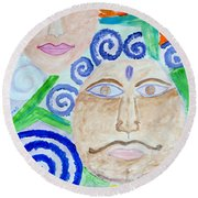 Faces Round Beach Towel by Sonali Gangane